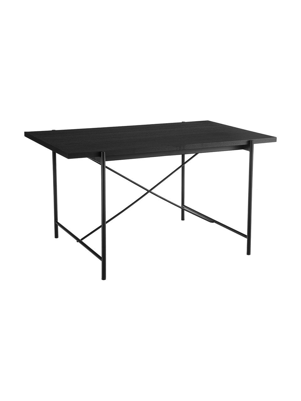 Esstisch Mica mit Holzplatte in Schwarz, Tischplatte: Mitteldichte Holzfaserpla, Gestell: Metall, pulverbeschichtet, Eichenholzfurnier, schwarz lackiert, B 180 x T 90 cm