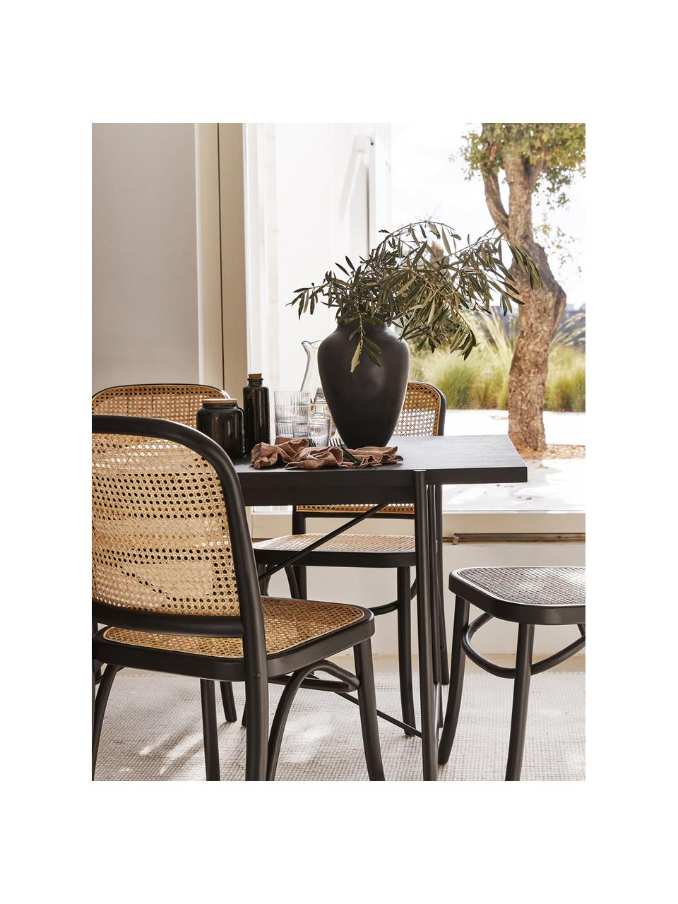 Tavolo con piano in legno nero Mica, Struttura: metallo verniciato a polv, Finitura in legno di quercia nero verniciato, Larg. 180 x Prof. 90 cm