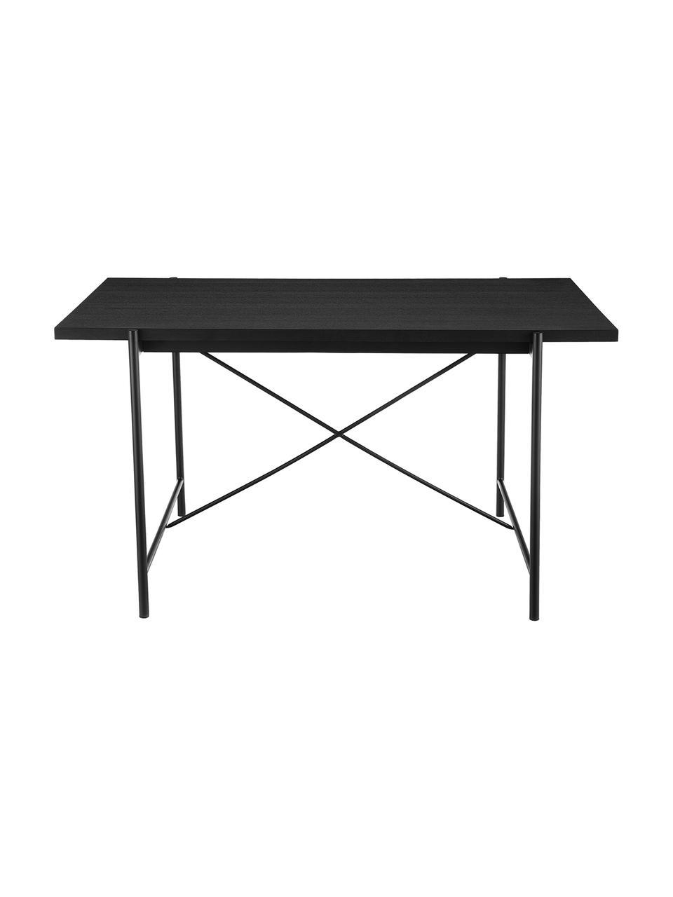 Eettafel Mica, Tafelblad: MDF met eikenhoutfineer, Frame: gepoedercoat metaal, Tafelblad: zwart gelakt eikenhoutfineer. Poten: mat zwart, B 180 x D 90 cm