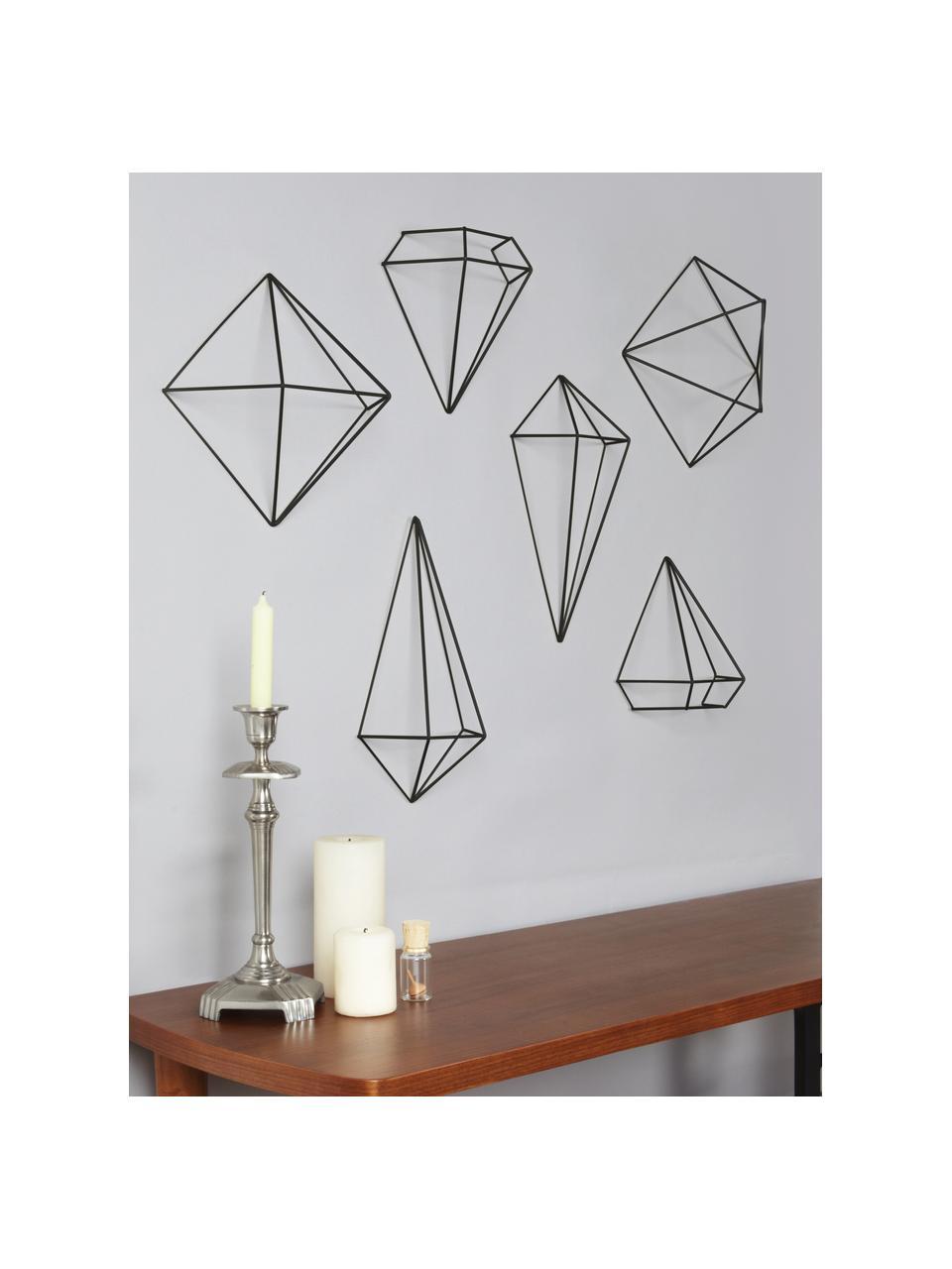 Komplet dekoracji ściennych z metalu lakierowanego Prisma, 6 elem., Metal lakierowany, Czarny, Komplet z różnymi rozmiarami