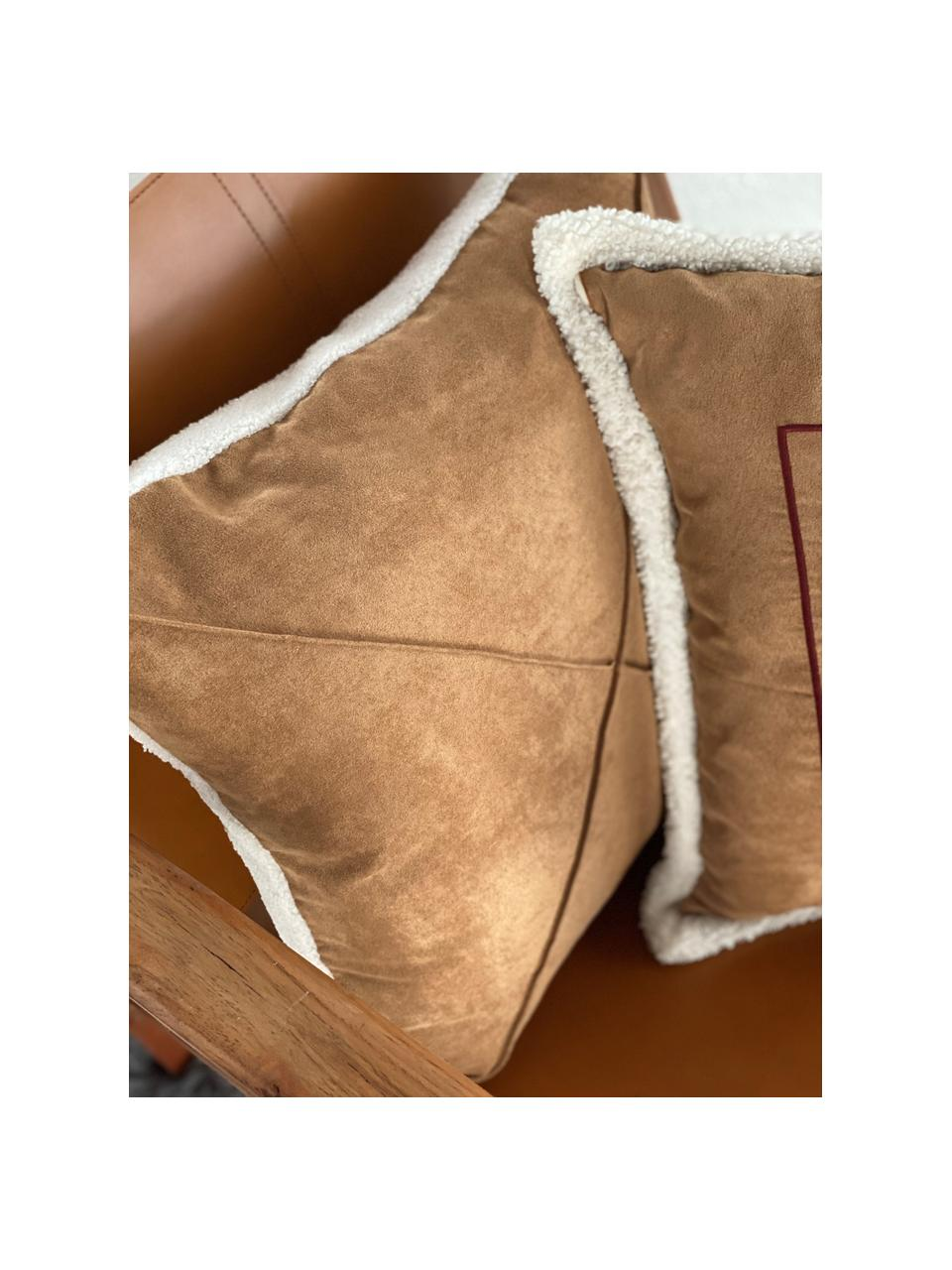 Kissenhülle Tahoe Braun/Weiß in Lederoptik mit Teddyfell-Keder, 100% Polyester, Hellbraun, 50 x 50 cm