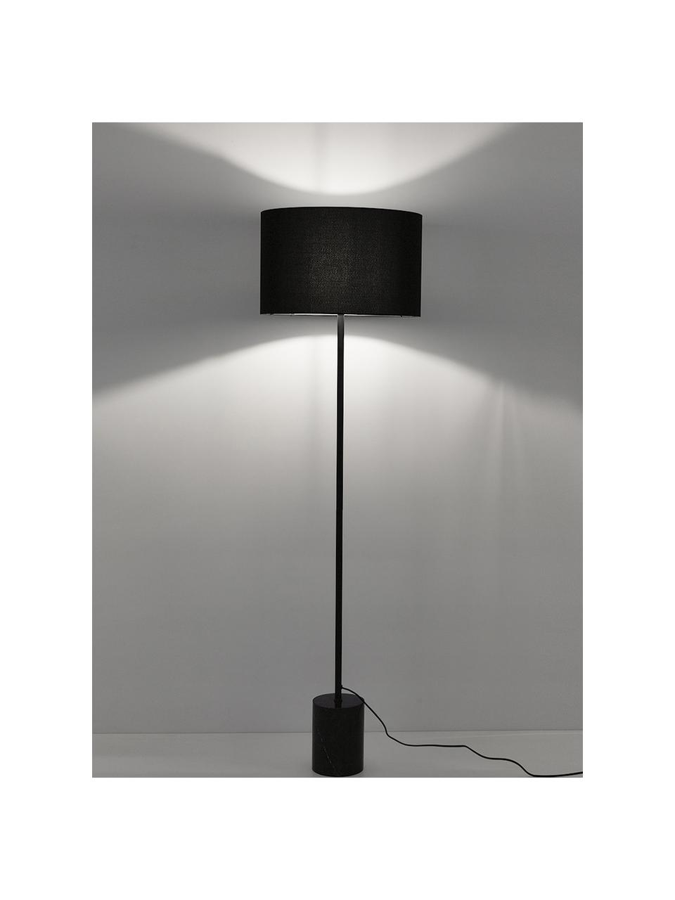 Lampada da terra con base in marmo Cody, Paralume: tessuto, Base della lampada: marmo, metallo verniciato, Marmo nero, Ø 45 x Alt. 159 cm