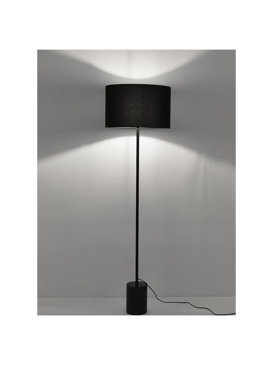 Stehlampe Cody mit Marmorfuß, Lampenschirm: Textil, Lampenfuß: Marmor, Gestell: Metall, pulverbeschichtet, Schwarzer Marmor, Ø 45 x H 159 cm