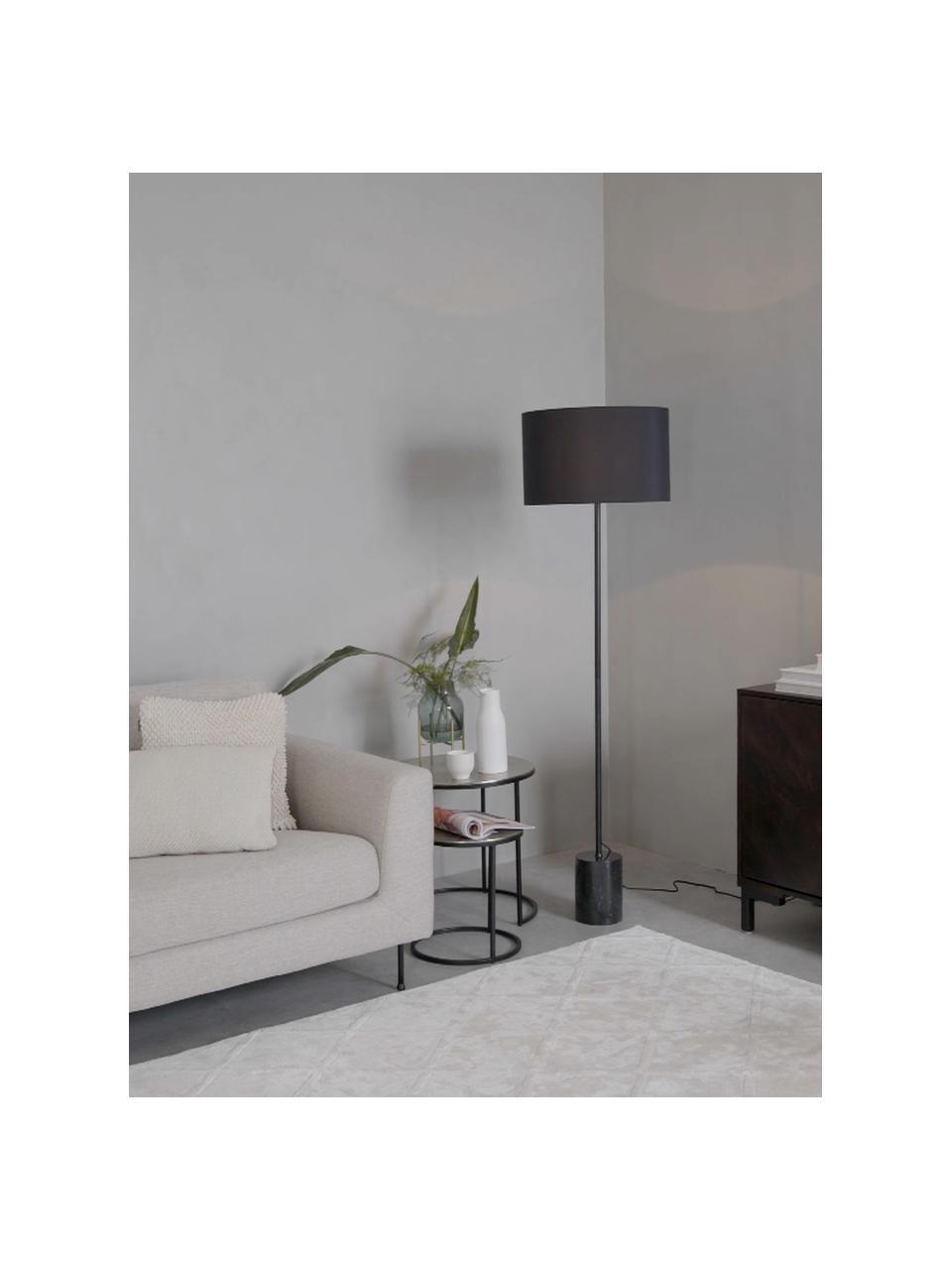 Vloerlamp Cody met marmeren voet, Lampenkap: textiel, Lampvoet: marmer, Frame: gepoedercoat metaal, Zwart marmer, Ø 45 x H 159 cm