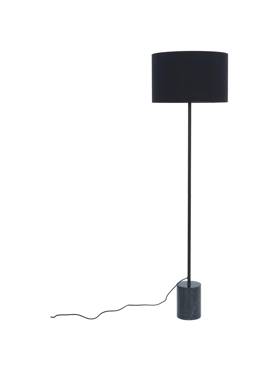 Lampa podłogowa z podstawą z marmuru Cody, Stelaż: metal malowany proszkowo, Czarny marmur, Ø 45 x W 159 cm