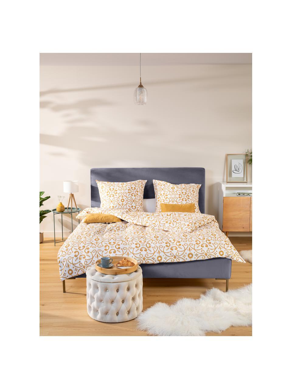 Łóżko tapicerowane z aksamitu Peace, Korpus: lite drewno sosnowe i pły, Tapicerka: poliester (tkanina strukt, Nogi: metal malowany proszkowo, Ciemny szary, S 180 x D 200 cm