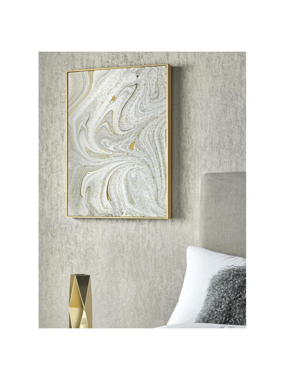 Gerahmter Leinwanddruck Marble, Bild: Digitaldruck auf Leinen, Rahmen: Metall, beschichtet, Weiß, Grau, Goldfarben, 50 x 70 cm