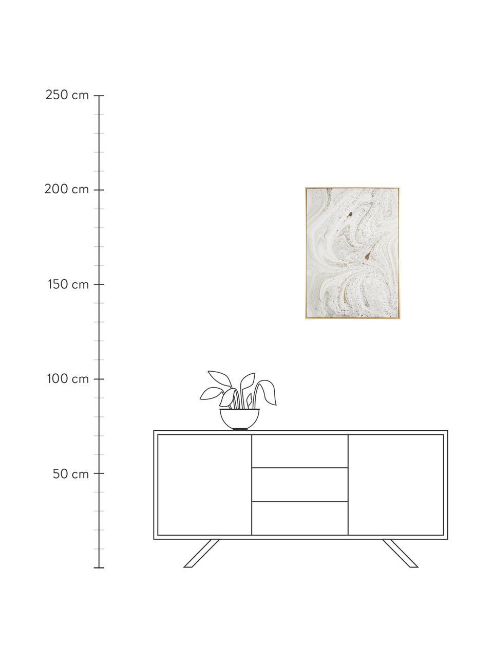Impression sur toile encadrée Marbre, Blanc, gris, couleur dorée