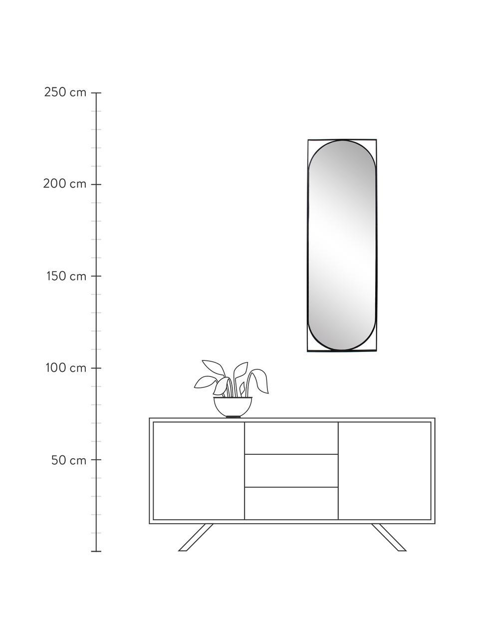 Schwarzer Wandspiegel Azurite mit Metallrahmen, Rahmen: Metall, beschichtet, Spiegelfläche: Spiegelglas, Schwarz, 37 x 117 cm