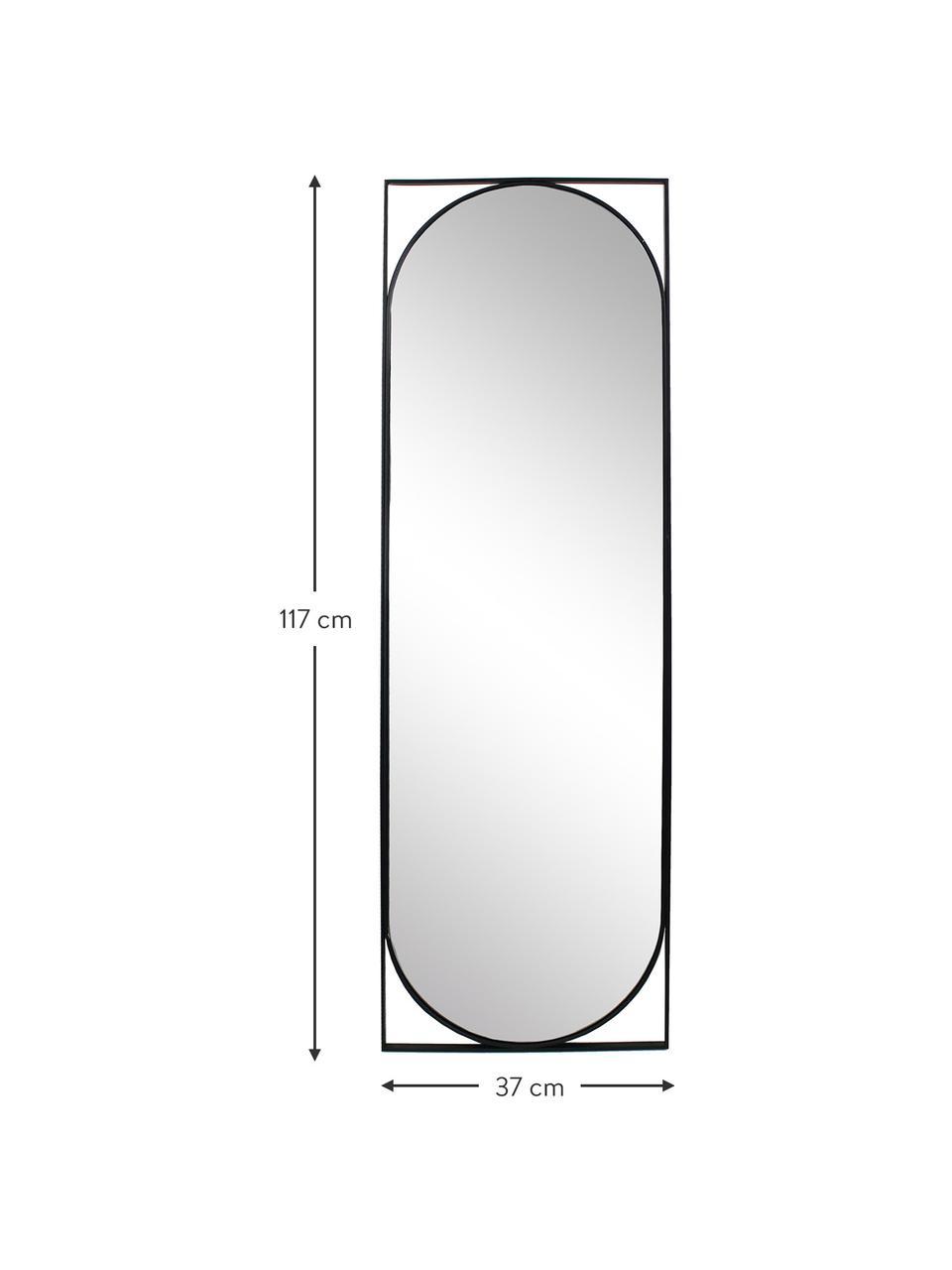 Lustro ścienne z metalową ramą Azurite, Czarny, S 37 x W 117 cm