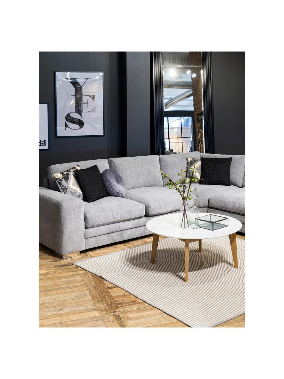 Okrągły stolik kawowy Lucas, Blat: płyta pilśniowa średniej , Nogi: drewno dębowe, Biały, drewno dębowe, Ø 90 x W 42 cm