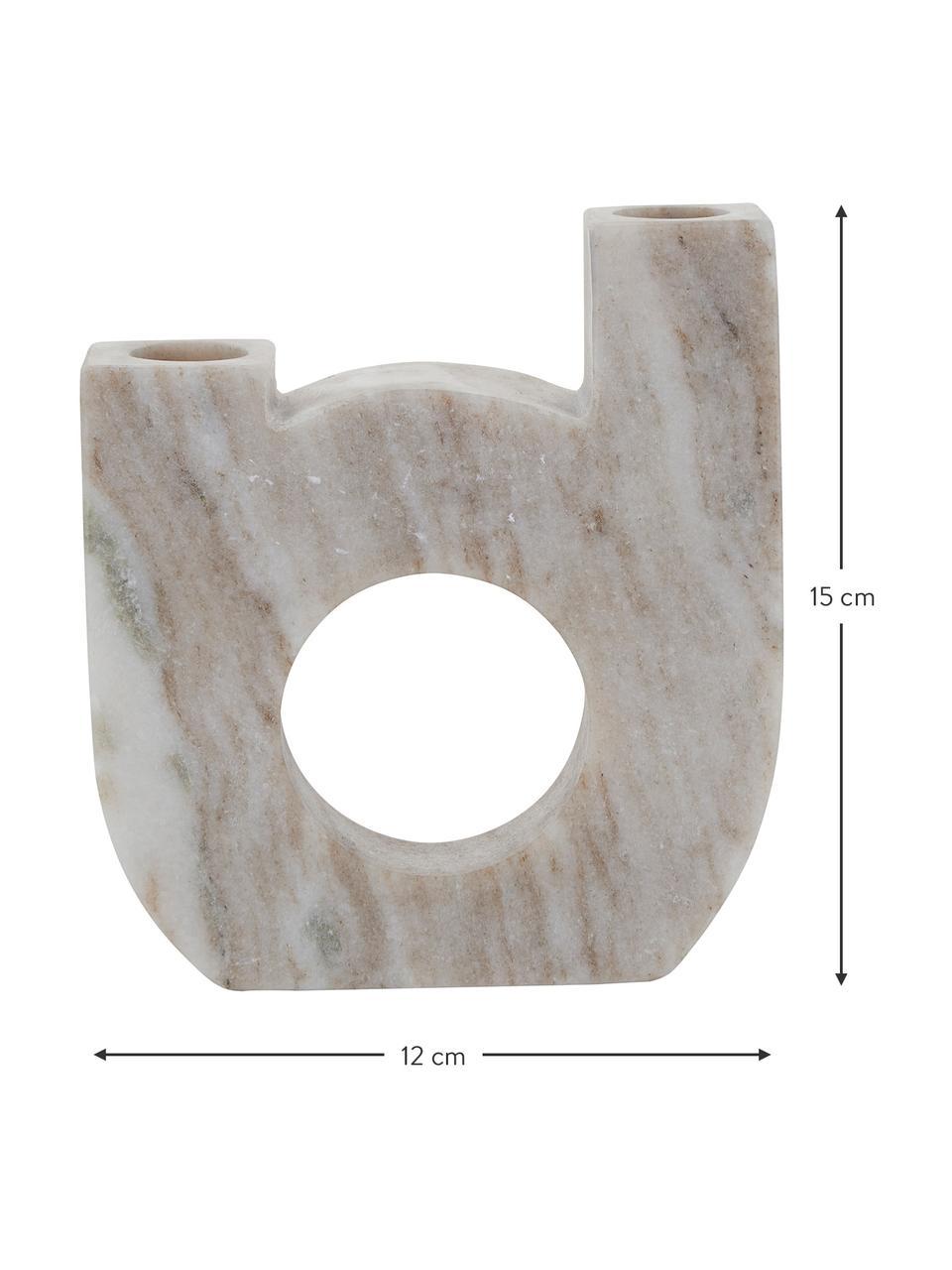 Kandelaar Arch Double van marmer, Marmer, Beige, 12 x 15 cm