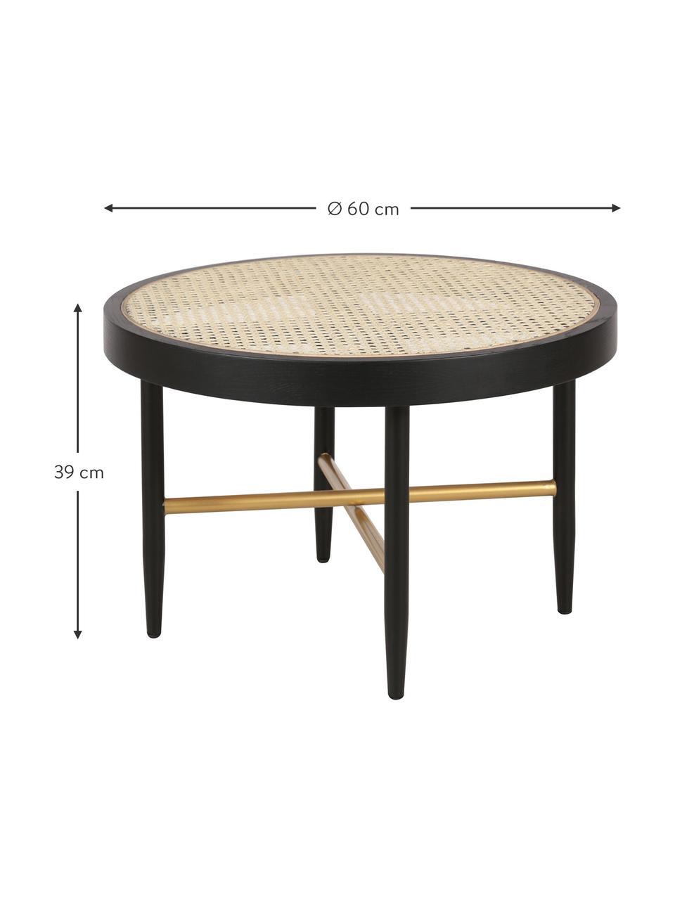 Stolik kawowy z plecionką wiedeńską Exalt, Stelaż: lite drewno dębowe, lakie, Blat: rattan, Czarny, beżowy, Ø 60 x W 39 cm