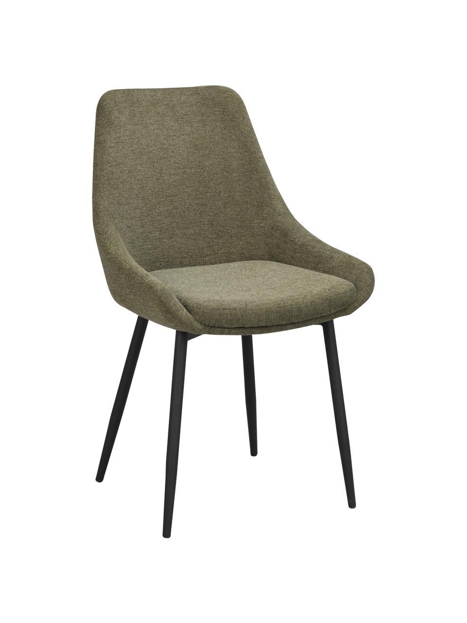 Polsterstühle Sierra in Grün, 2 Stück, Bezug: 100% Polyester, Beine: Metall, pulverbeschichtet, Webstoff Grün, B 49 x T 55 cm