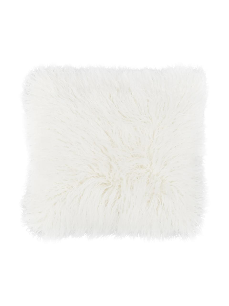 Flauschige Kunstfell-Kissenhülle Morten in Creme, gelockt, Vorderseite: 67% Acryl, 33% Polyester, Rückseite: 100% Polyester, Creme, 40 x 40 cm
