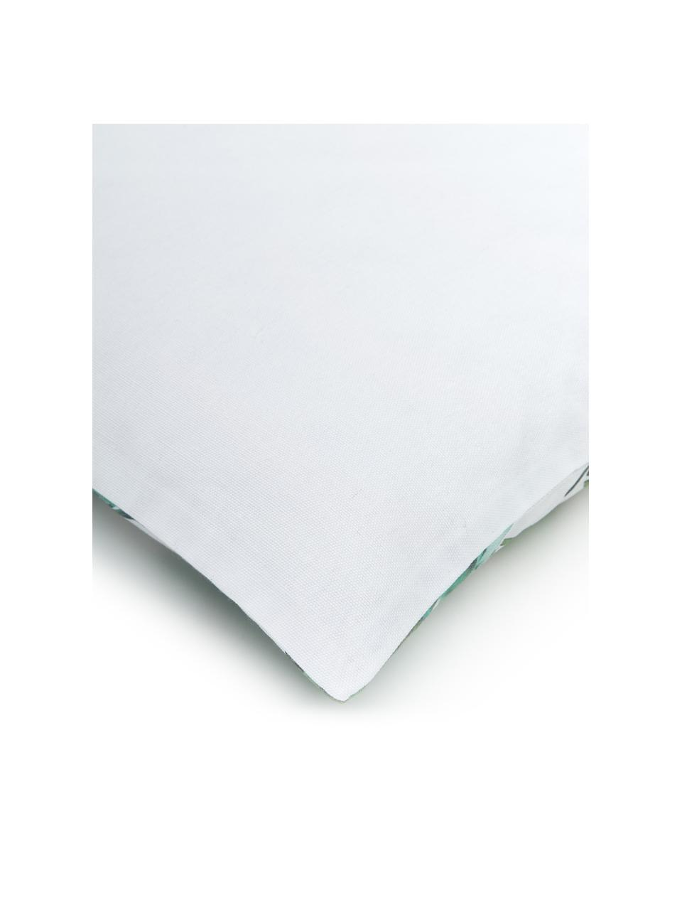 Kissenhülle Shade mit Blättermotiven, 100% Baumwolle, Grün, Weiß, 45 x 45 cm