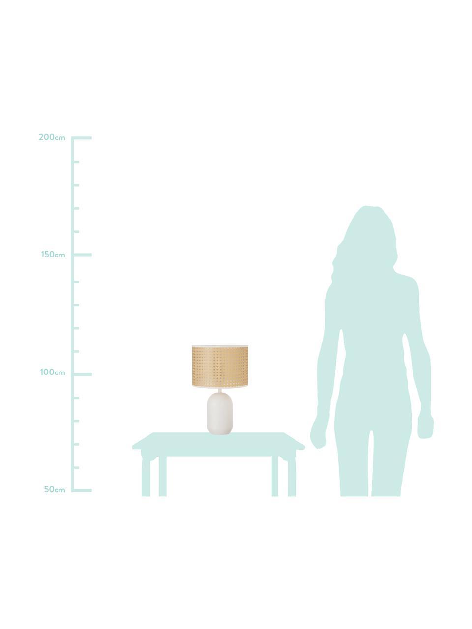Lampa stołowa z plecionki wiedeńskiej Vienna, Klosz: beżowy, biały Podstawa lampy: biały, matowy Kabel: biały, Ø 25 x W 40 cm