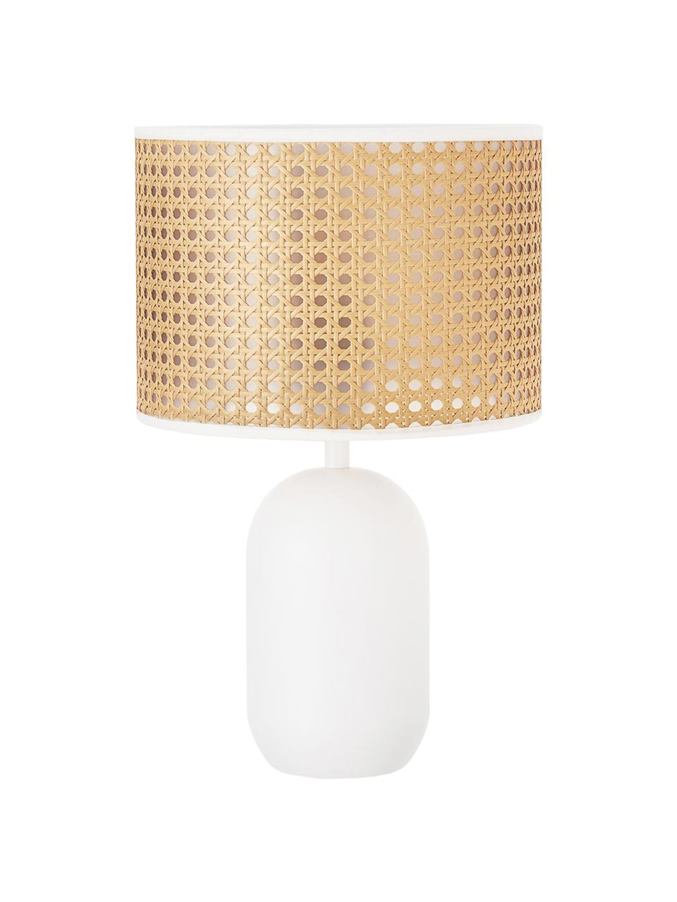 Tischlampe Vienna aus Wiener Geflecht, Lampenschirm: Kunststoff, Lampenfuß: Metall, pulverbeschichtet, Weiß, Hellbraun, ∅ 25 x H 40 cm