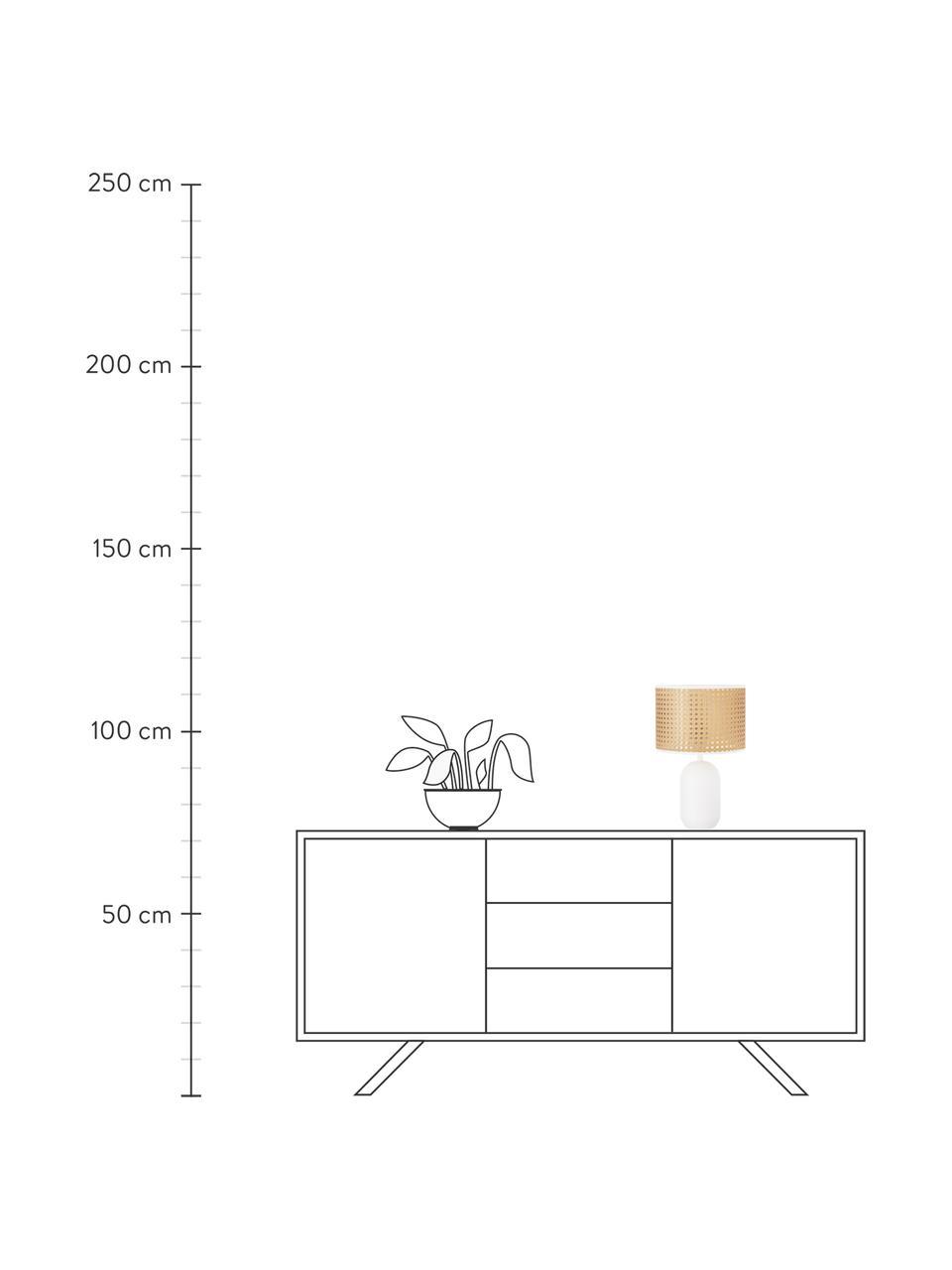 Lampada da tavolo con intreccio viennese Vienna, Paralume: materiale sintetico, Base della lampada: metallo verniciato a polv, Paralume: beige, bianco Base della lampada: bianco opaco Cavo: bianco, Ø 25 x Alt. 40 cm