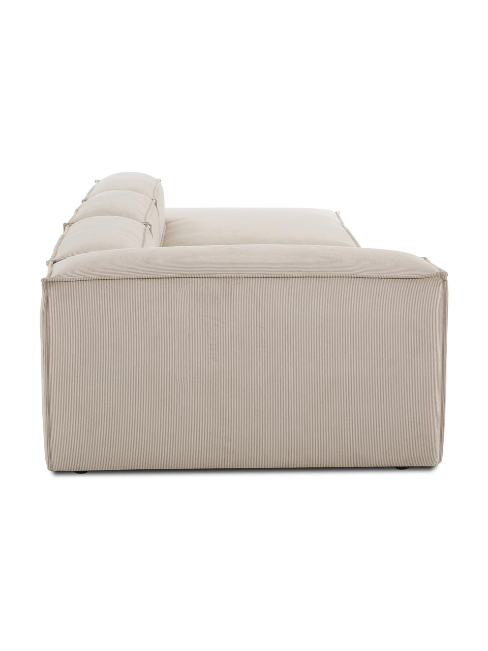 Modulaire XL chaise longue Lennon in beige van corduroy, Bekleding: corduroy (92% polyester, , Frame: massief grenenhout, multi, Poten: kunststof De poten bevind, Corduroy beige, B 357 x D 119 cm