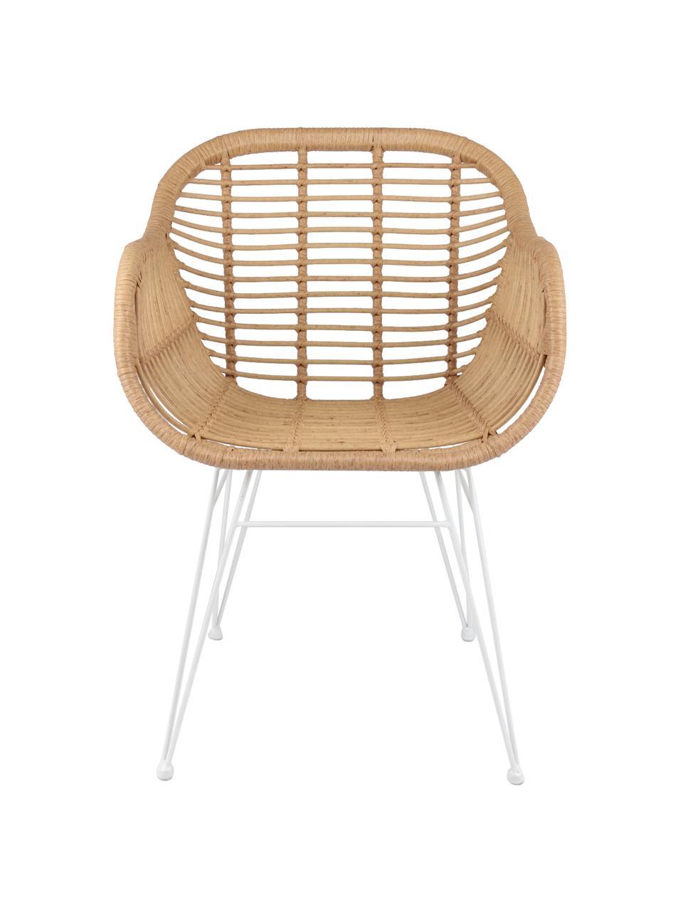 Polyrattan-Armlehnstühle Costa, 2 Stück, Sitzfläche: Polyethylen-Geflecht, Gestell: Metall, pulverbeschichtet, Hellbraun, Weiß, B 59 x T 58 cm