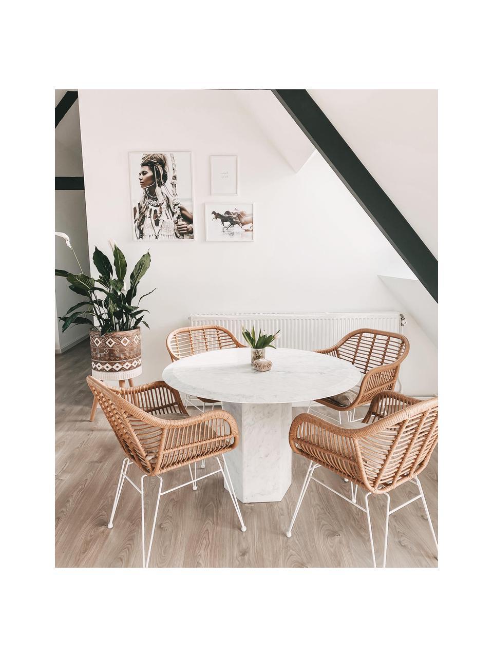 Krzesło z podłokietnikami z polirattanu Costa, 2 szt., Stelaż: metal malowany proszkowo, Jasny brązowy, biały, S 59 x G 58 cm