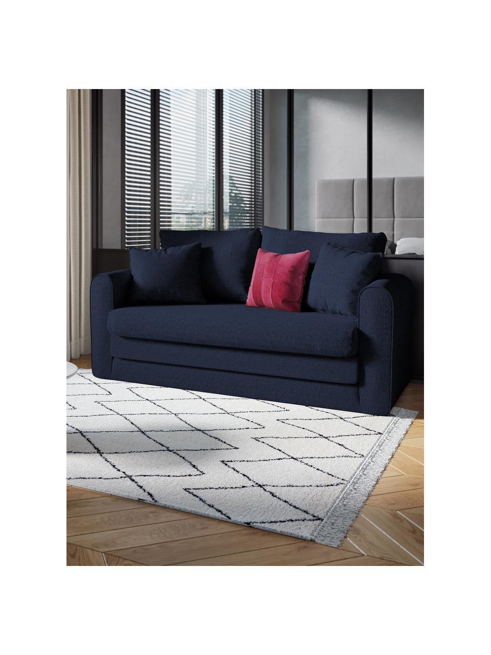 Divano letto 2 posti in tessuto grigio chiaro Lido, Blu scuro, Larg. 158 x Alt. 69 cm