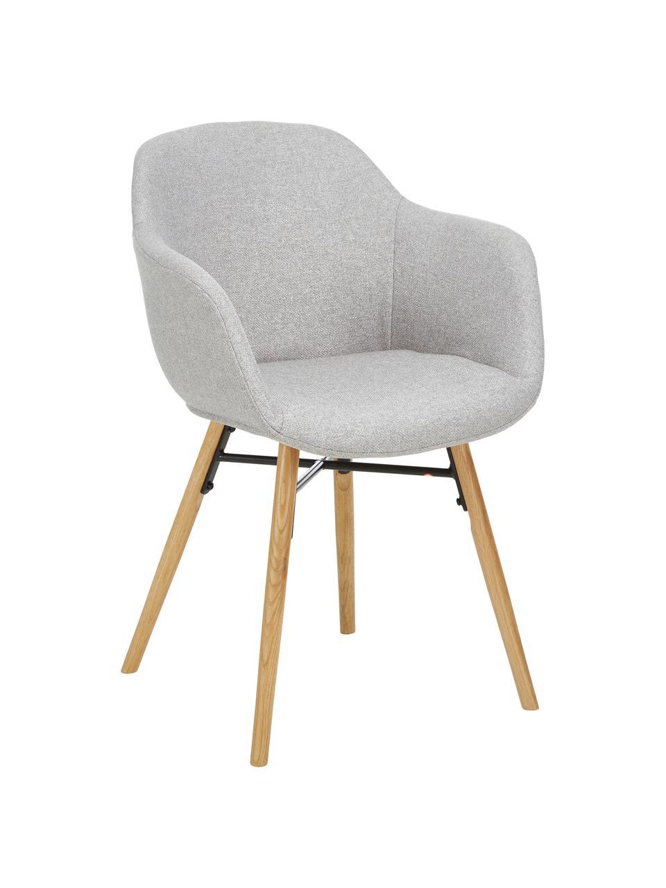 Krzesło z podłokietnikami z drewnianymi nogami Fiji, Tapicerka: poliester Dzięki tkaninie, Nogi: lite drewno dębowe, Jasny szary, S 59 x G 55 cm