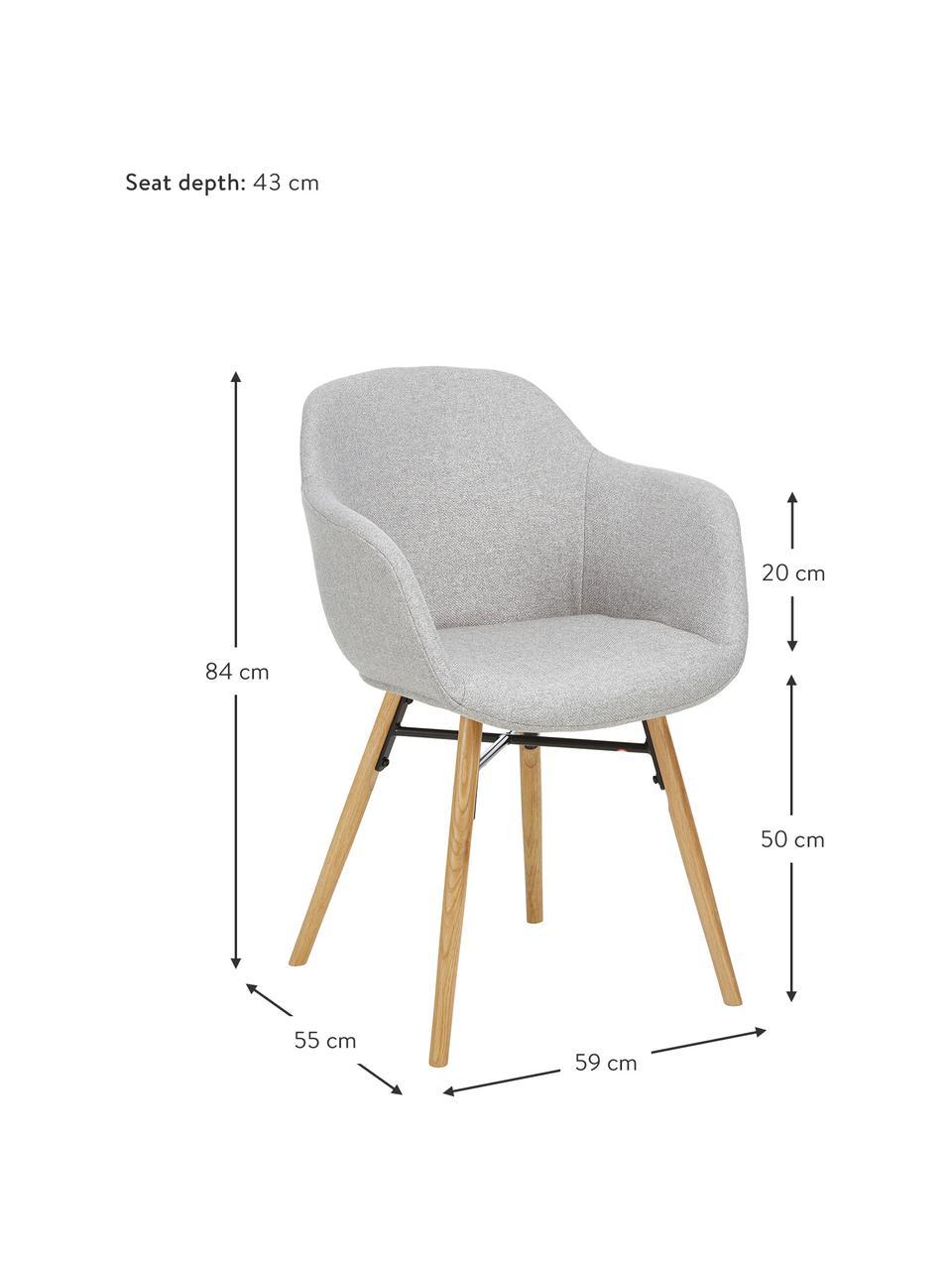 Chaise scandinave Fiji, Tissu gris clair