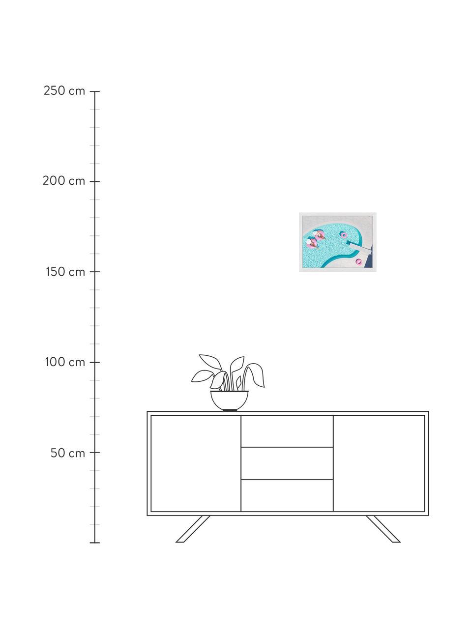 Stampa digitale incorniciata rosa Vacation, Immagine: stampa digitale su carta,, Cornice: legno verniciato, Multicolore, Larg. 43 x Alt. 33 cm