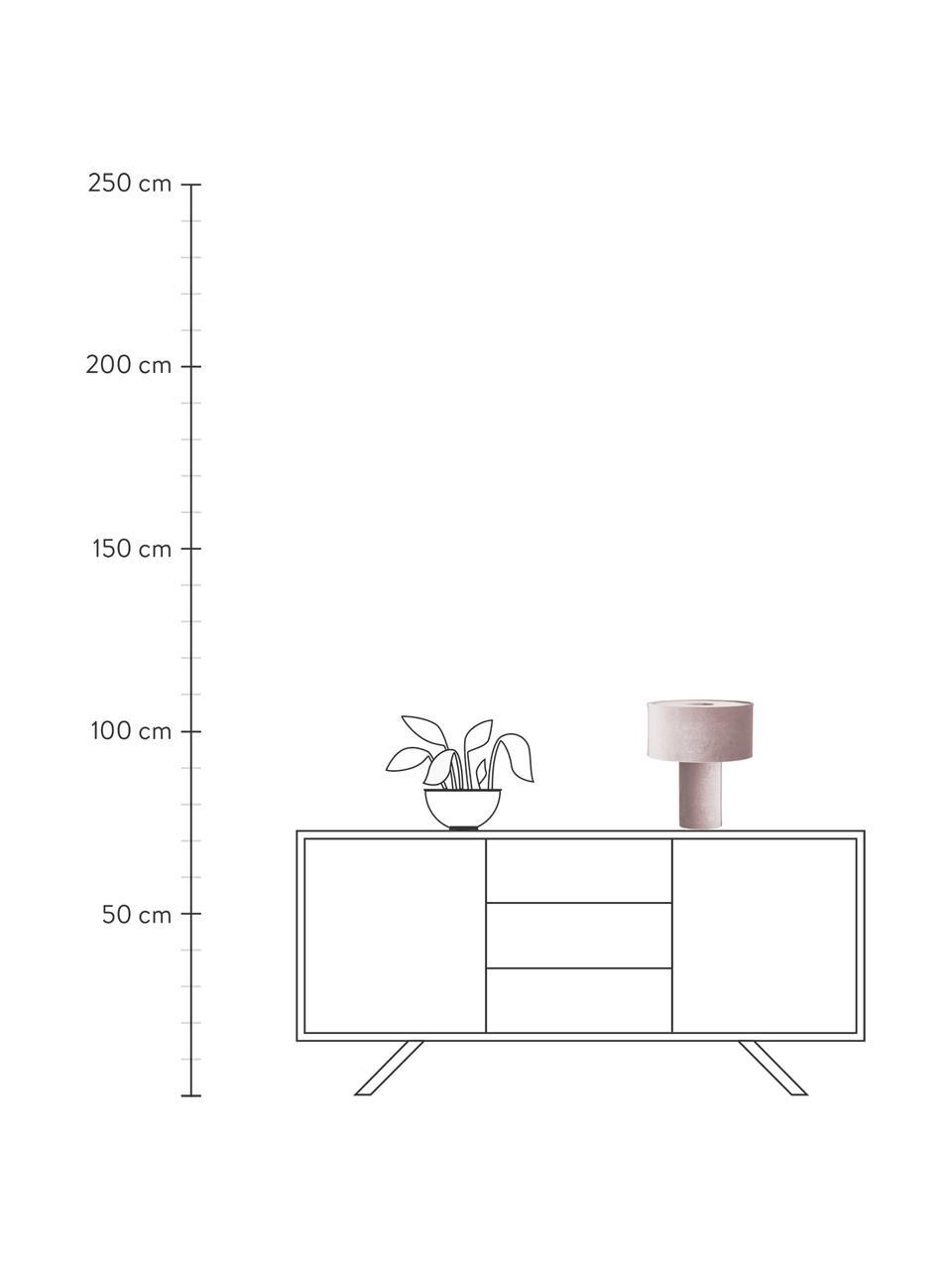Samt-Tischlampe Frida in Altrosa, Lampenfuß: Kunststoff mit Samtbezug, Lampenschirm: Samt, Rosa, Ø 30 x H 36 cm