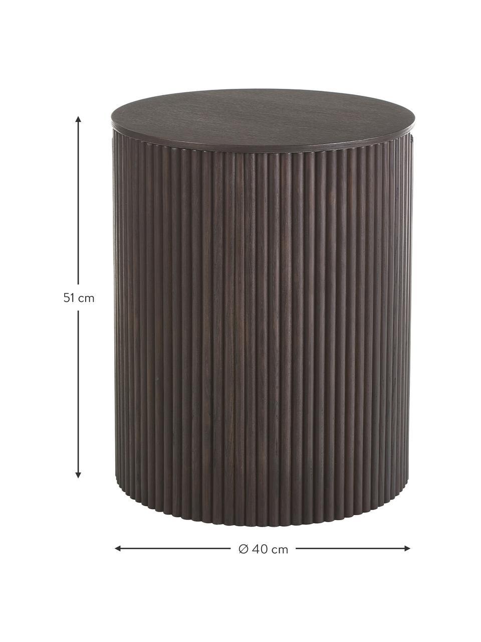 Holz-Beistelltisch Nele mit Stauraum, Mitteldichte Holzfaserplatte (MDF) mit Eschenholzfurnier, Dunkelbraun, Ø 40 x H 51 cm