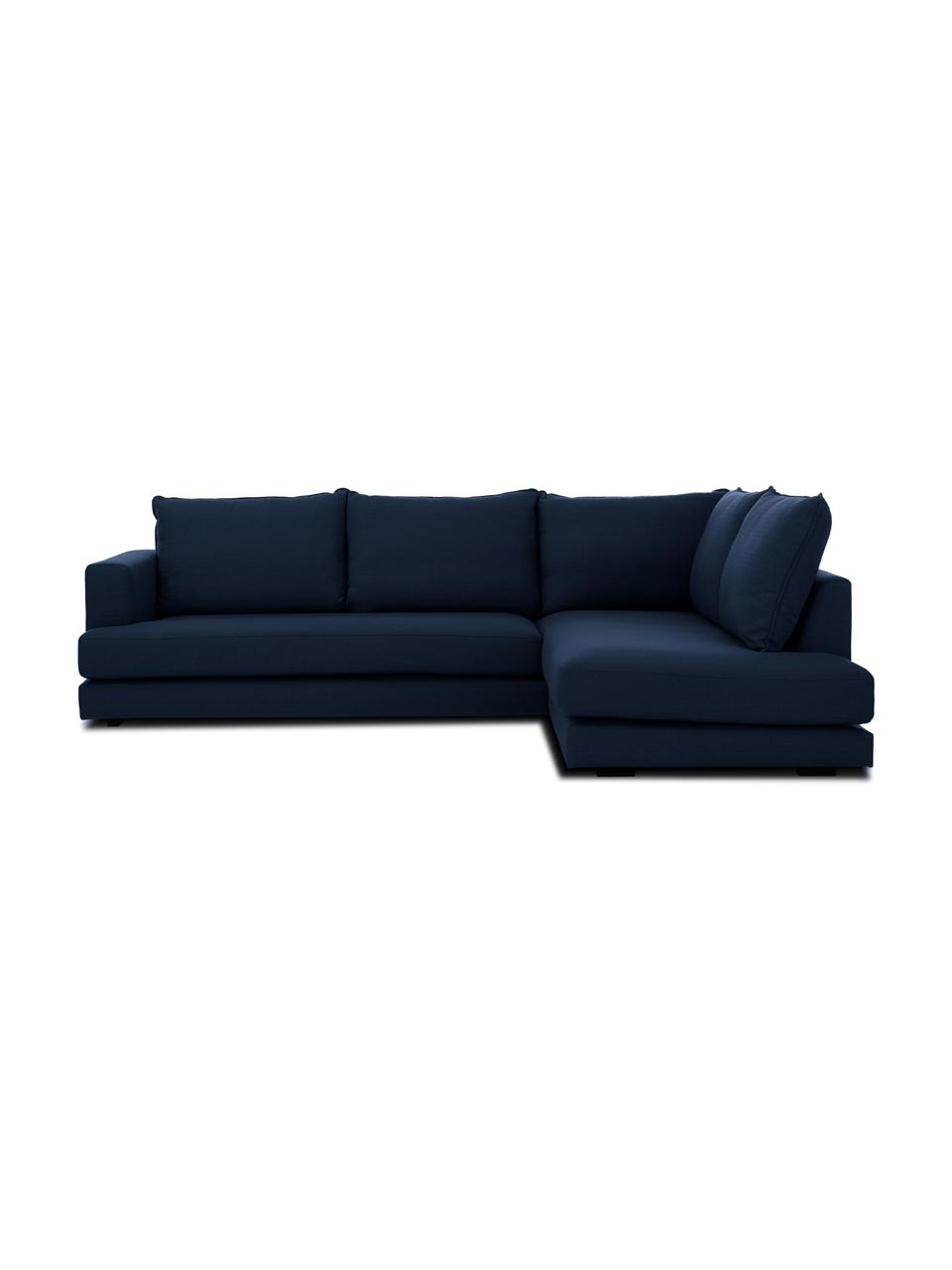 Sofa narożna Tribeca, Tapicerka: poliester Dzięki tkaninie, Stelaż: lite drewno sosnowe, Nogi: lite drewno bukowe, lakie, Ciemny niebieski, S 274 x G 192 cm