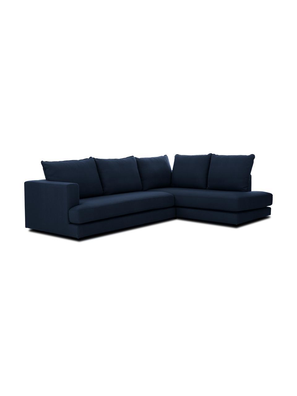 Grand canapé d'angle bleu foncé Tribeca, Tissu bleu foncé
