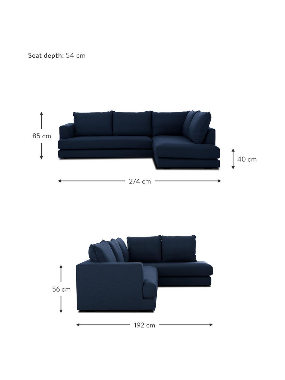 Grote hoekbank Tribeca in donkerblauw, Bekleding: polyester, Frame: massief grenenhout, Poten: massief gelakt beukenhout, Stof donkerblauw, B 274 x D 192 cm