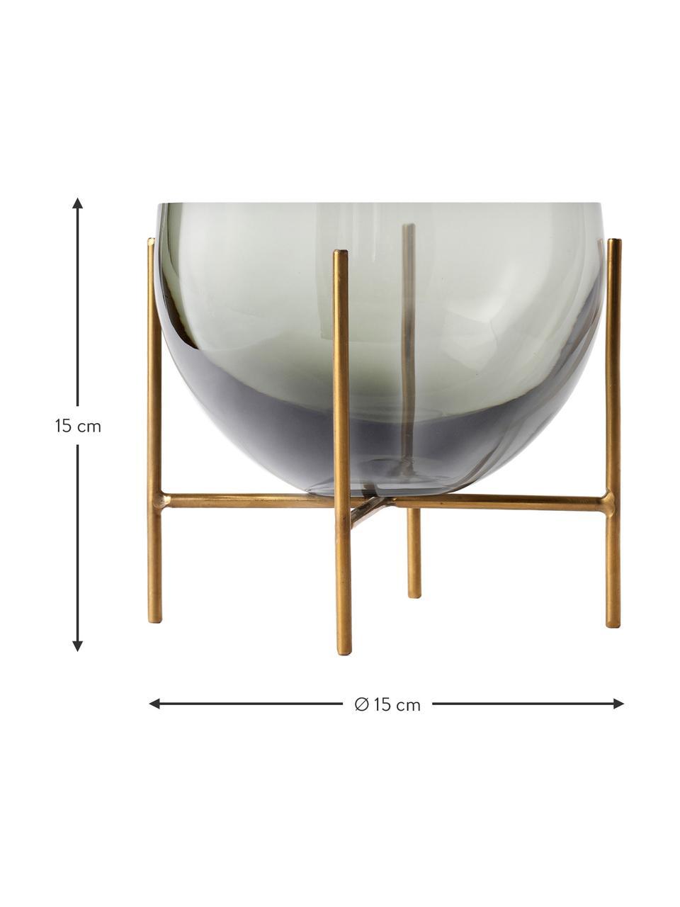 Designer-Schale Échasse, Gestell: Messing, gebürstet, Vase: Glas, Messingfarben, Grau, Ø 15 x H 15 cm
