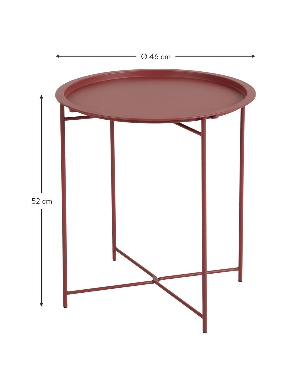 Tablett-Tisch Sangro aus Metall, Metall, pulverbeschichtet, Rot, Ø 46 x H 52 cm