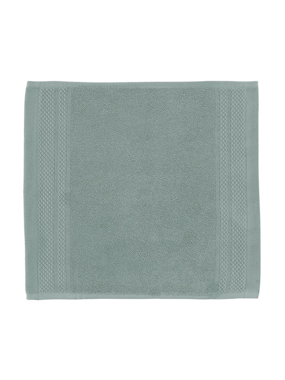 Handtuch Premium in verschiedenen Größen, mit klassischer Zierbordüre, Salbeigrün, XS Gästehandtuch