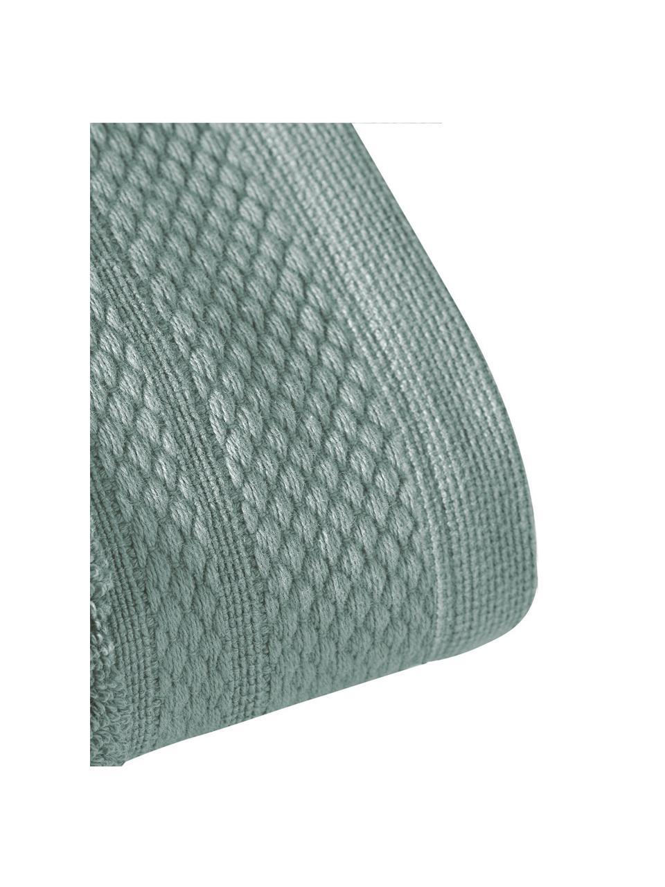 Handdoek Premium in verschillende formaten, met klassiek sierborduursel, Saliegroen, XS gastendoekje