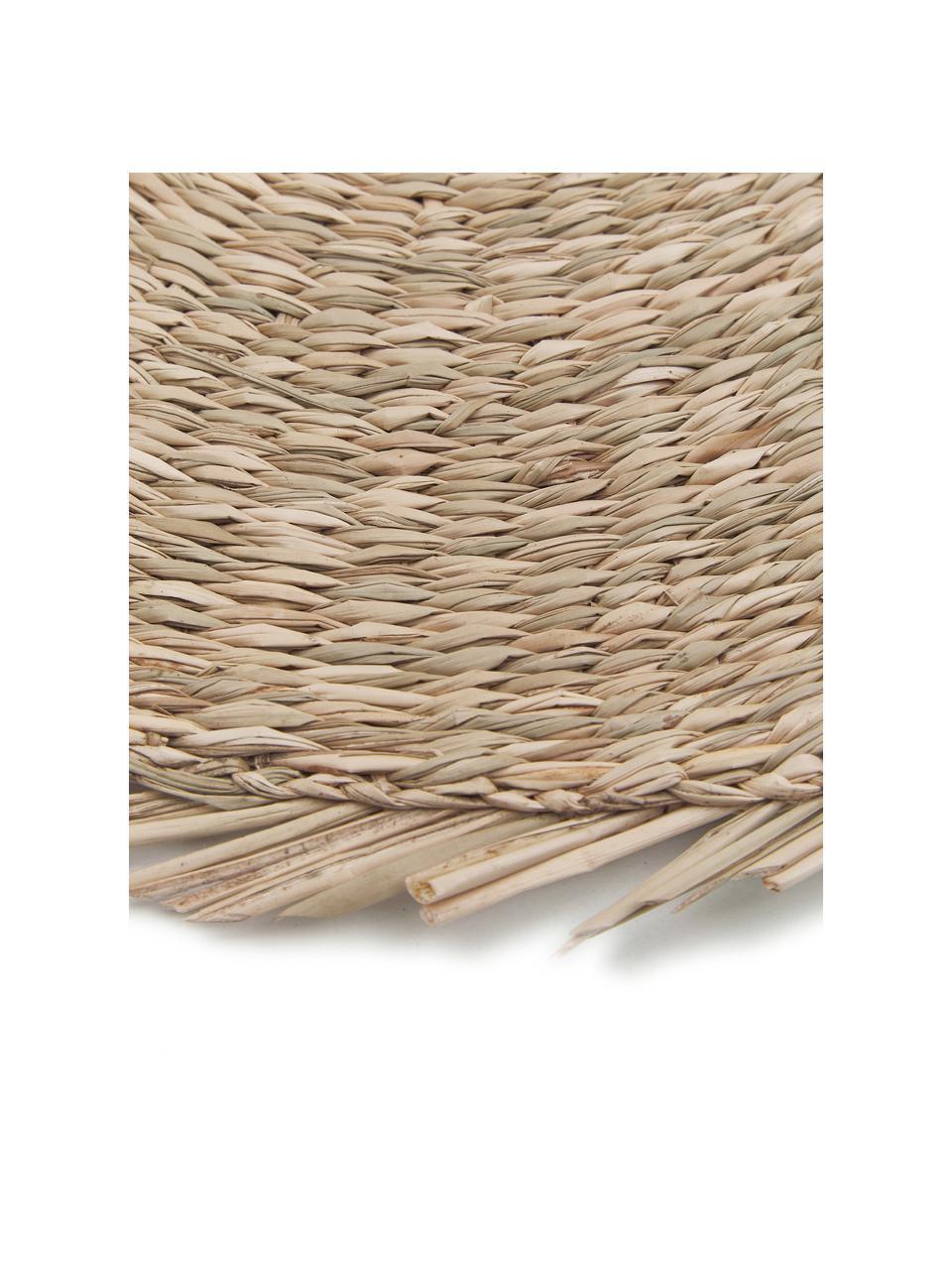 Ronde placemat Whirl, Zeegras, Lampenkap: grijs. Lampvoet: grijs. Snoer: wit, Ø 38 cm