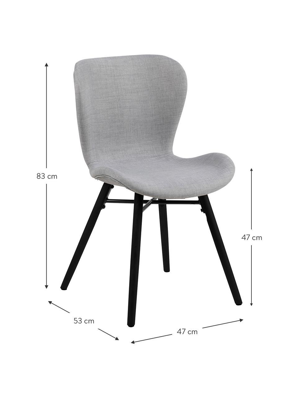 Krzesło tapicerowane Batilda, 2 szt., Tapicerka: 100% poliester, Nogi: drewno kauczukowe, powlek, Jasny szary, czarny, S 47 x G 53 cm