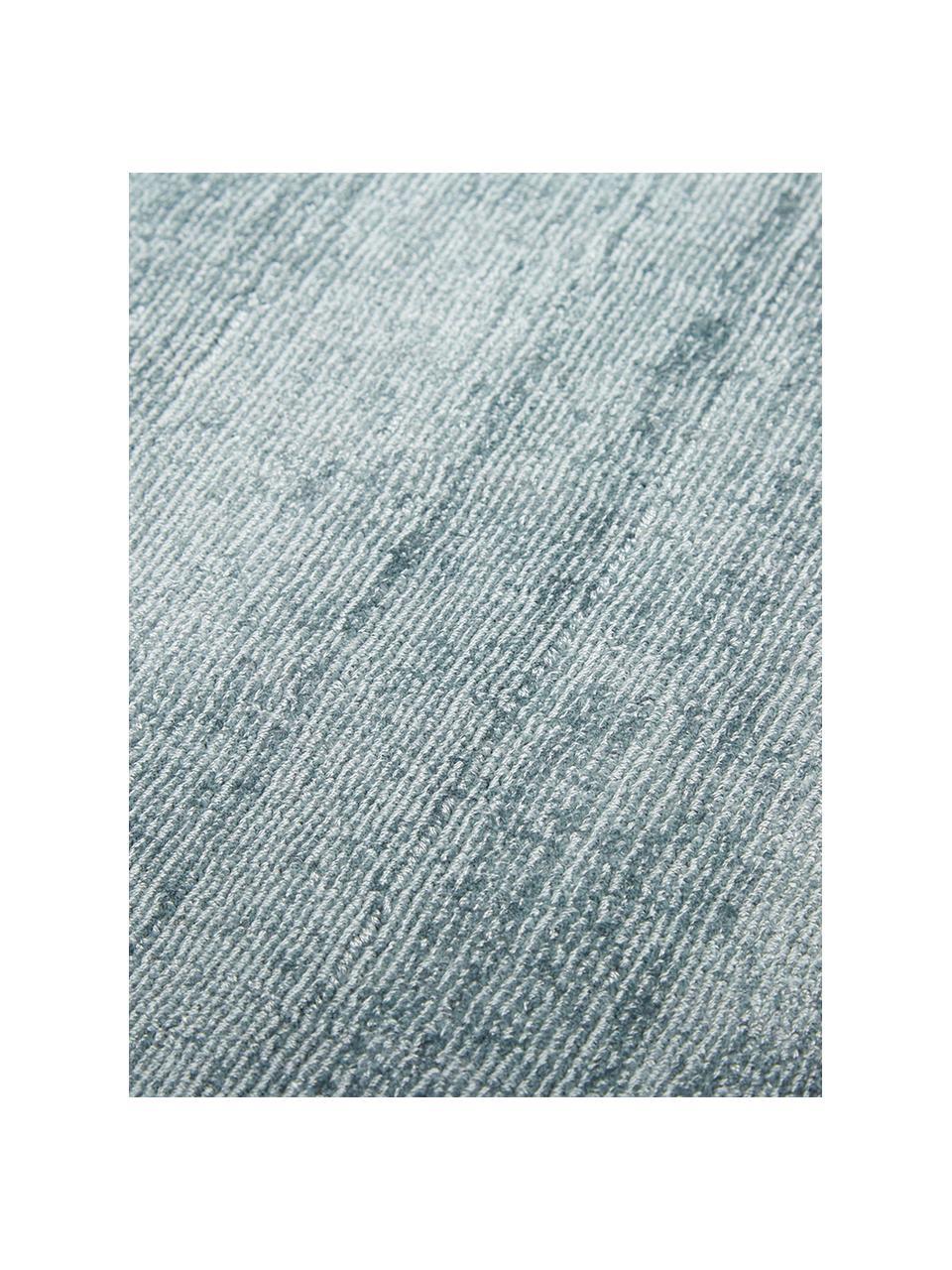 Okrągły ręcznie tkany dywan z wiskozy Jane, Chłodny niebieski, Ø 200 cm (Rozmiar L)