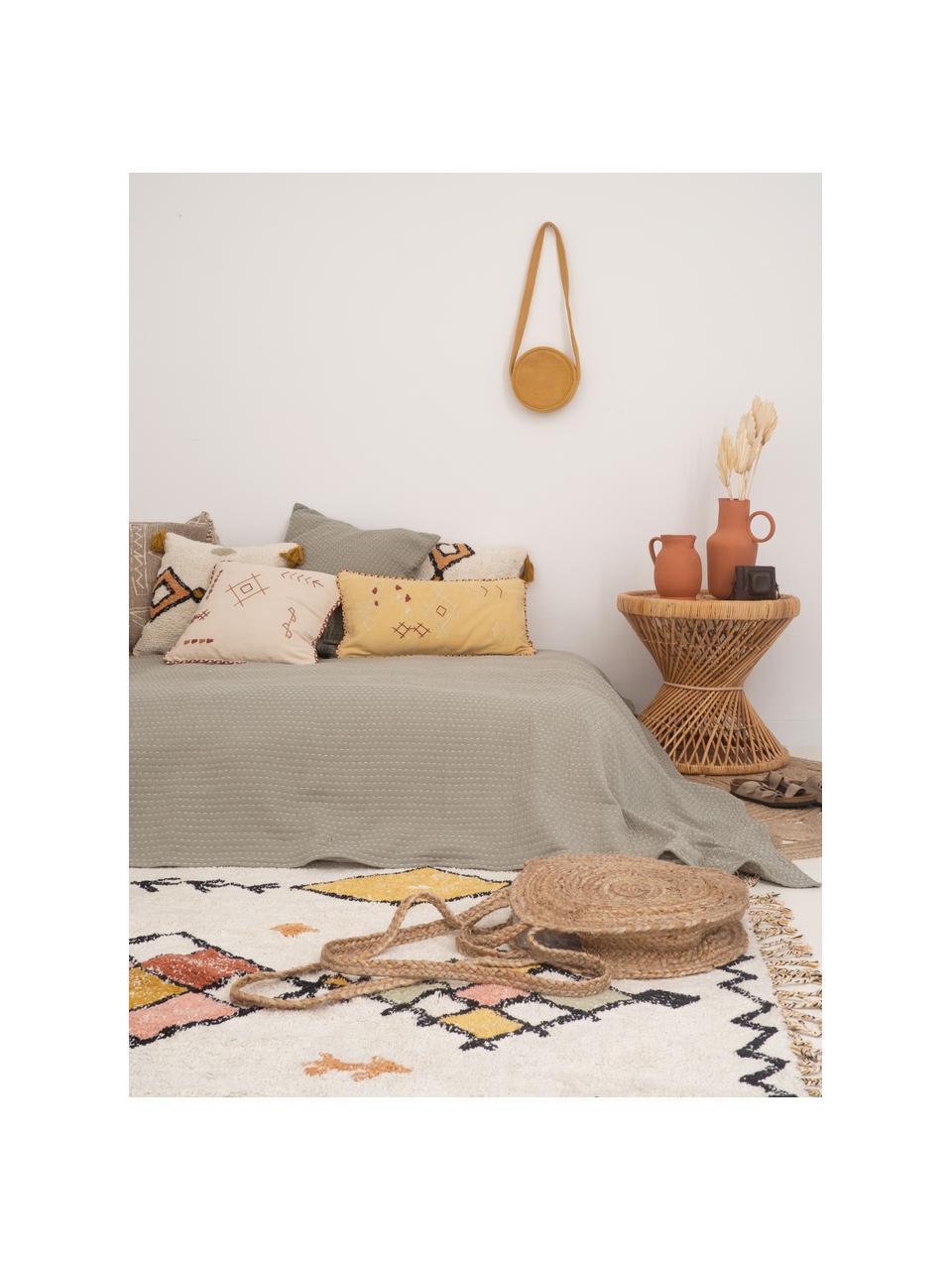 Kissenhülle Bereber mit Ethno-Muster und Quasten, 100% Baumwolle, Weiß, Schwarz, Senfgelb, 45 x 45 cm