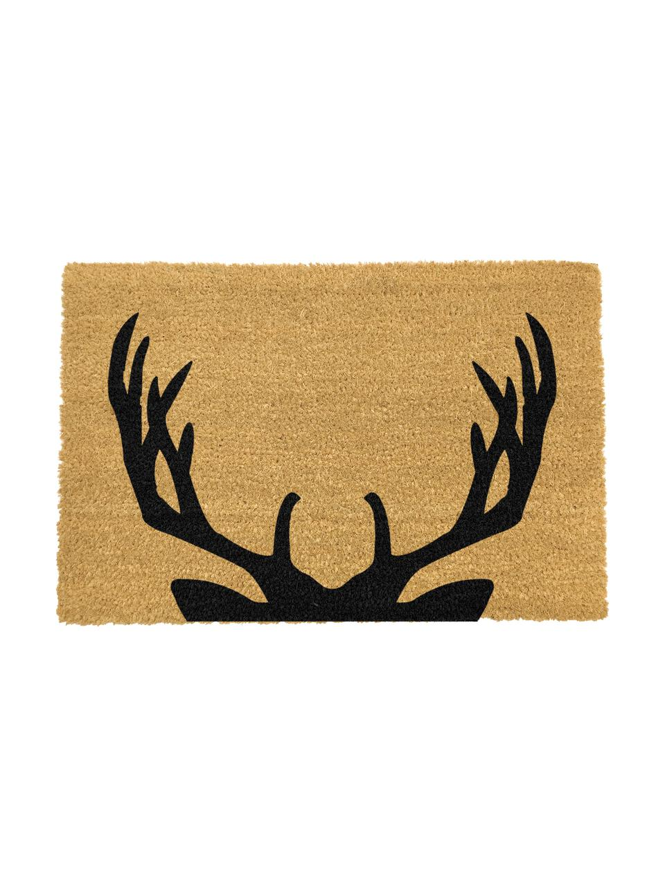 Fußmatte Stag, Kokosfaser, Fußmatte: Beige, Schriftzug: Schwarz, 40 x 60 cm