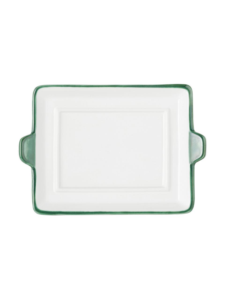 Handbemalte Butterdose Grüner Hirsch, Keramik, Grün,Weiß, 18 x 6 cm