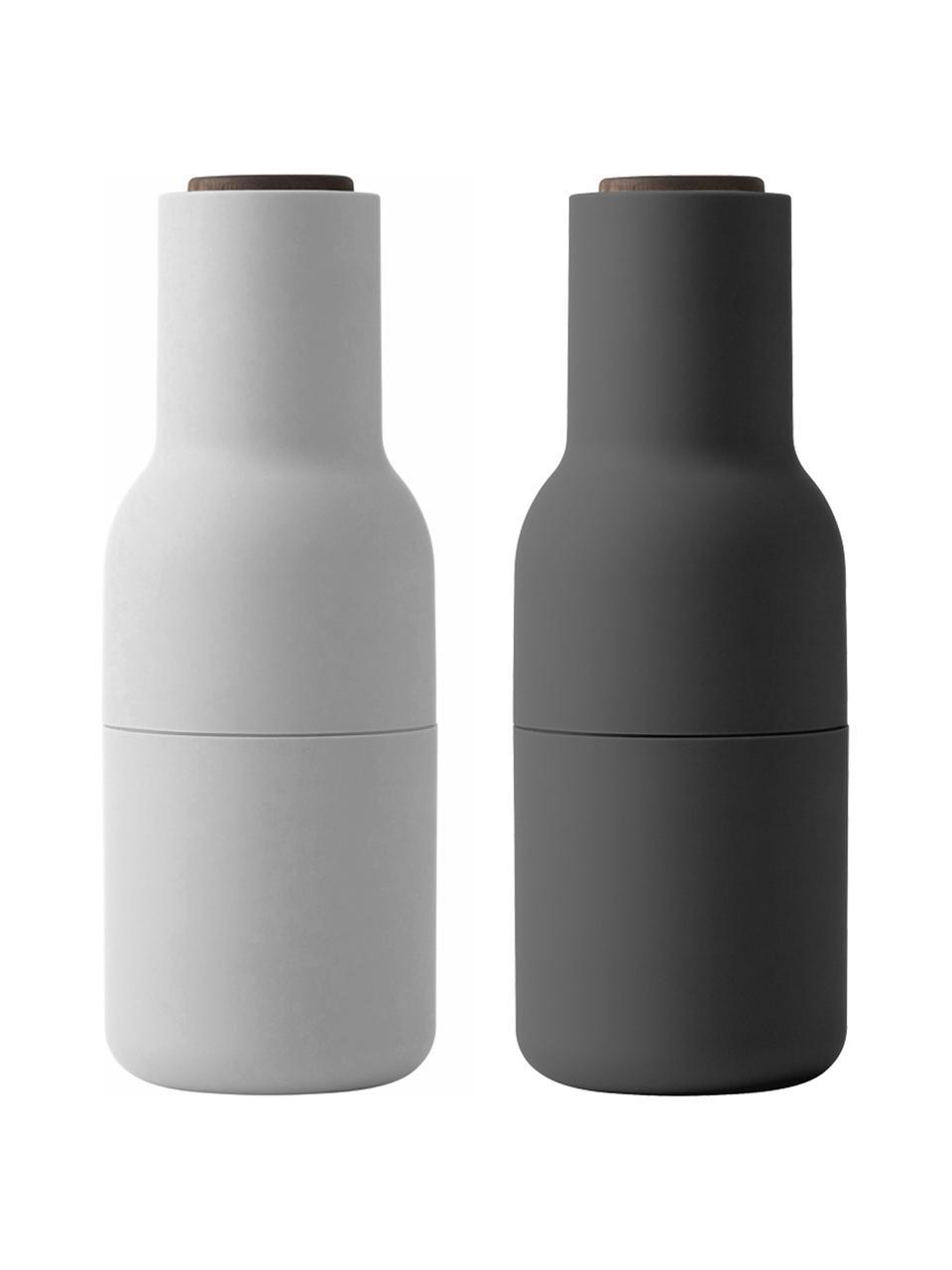 Designer Salz- & Pfeffermühle Bottle Grinder in Anthrazit/Hellgrau mit Walnussholzdeckel, Korpus: Kunststoff, Mahlwerk: Keramik, Deckel: Walnussholz, Anthrazit, Weiß, Ø 8 x H 21 cm