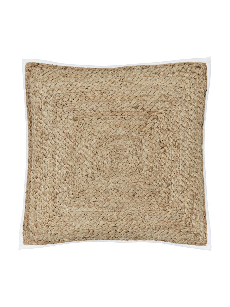 Jute-Kissenhülle Justina, Vorderseite: Jute, Rückseite: Baumwolle, Beige, Weiß, 45 x 45 cm
