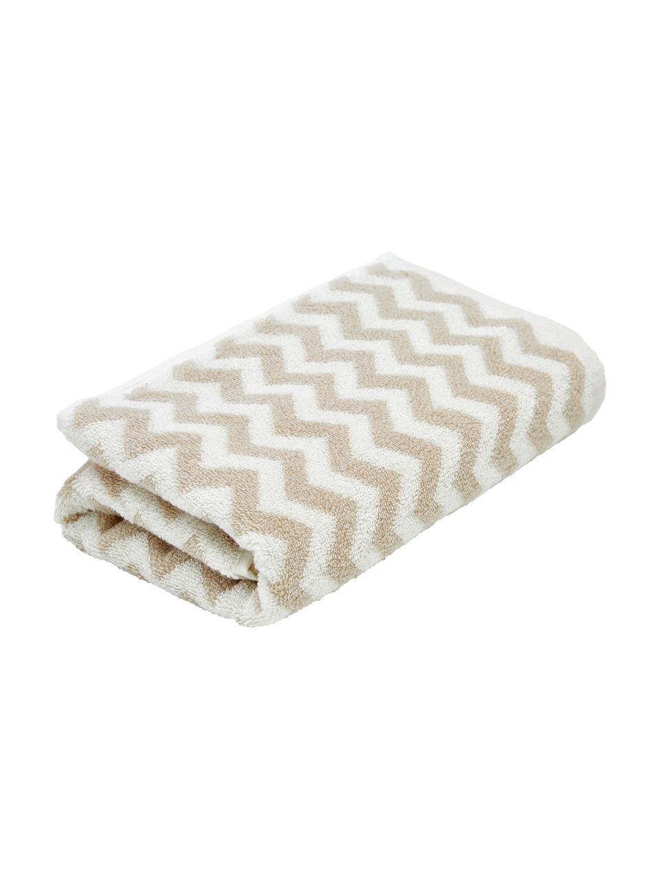 Serviette de toilette coton pur à imprimé zigzag Liv, Couleur sable, blanc crème