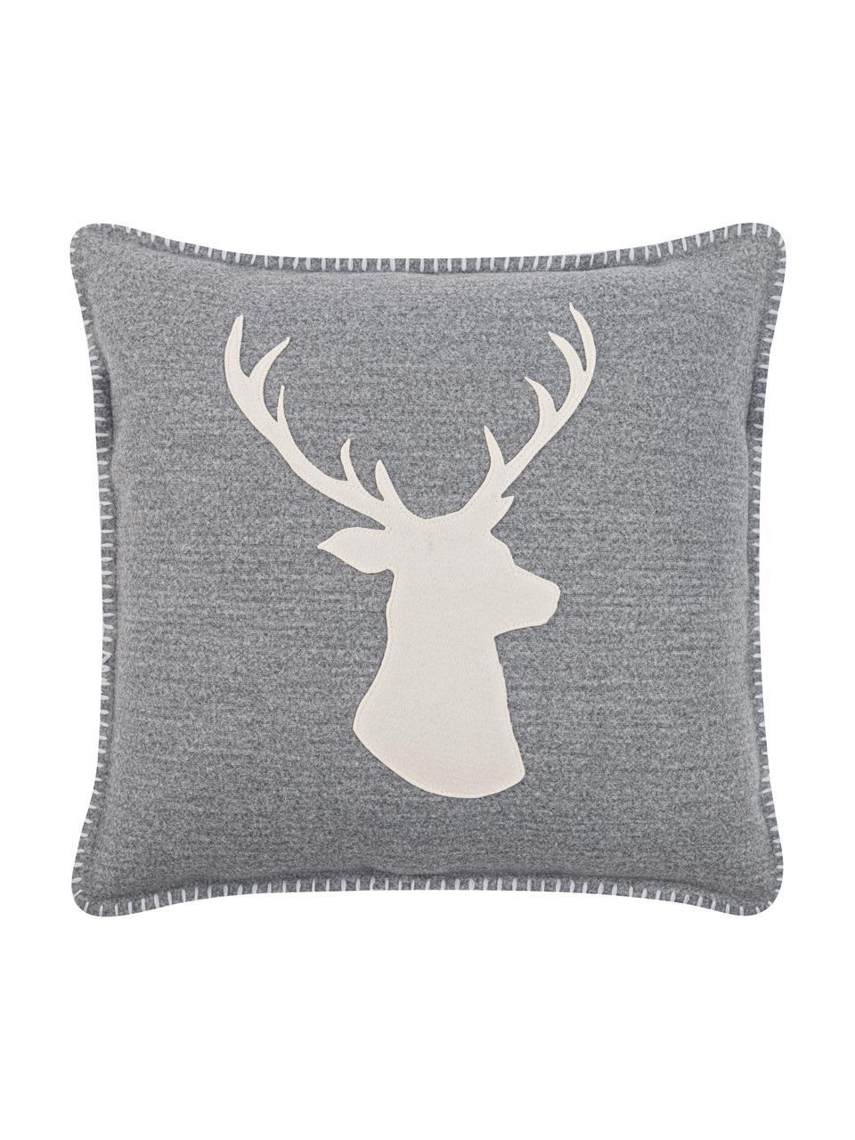 Housse de coussin 45x45 tête de cerf Deer, Gris, blanc