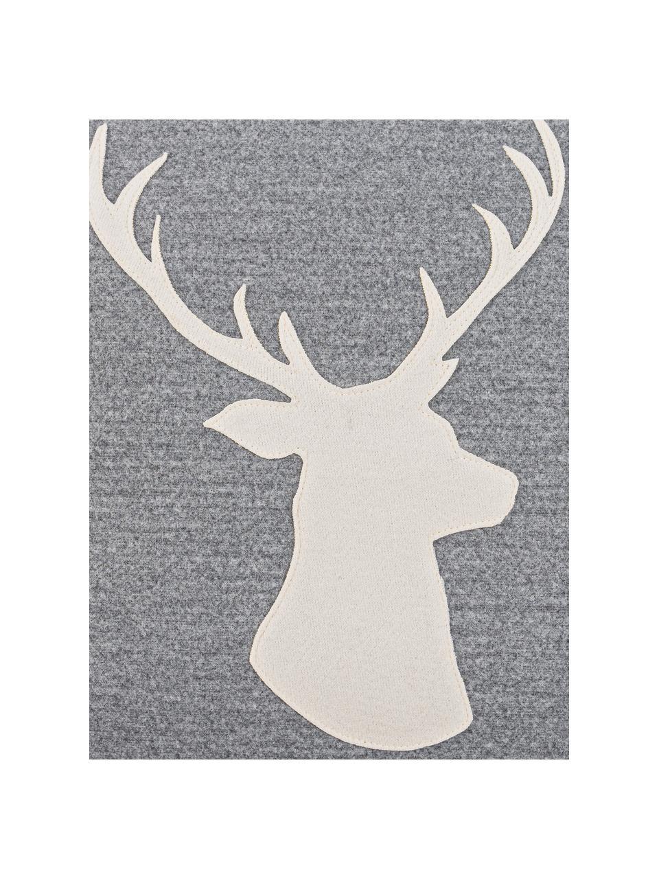 Kissenhülle Hirsch mit Hirsch-Motiv in Grau/Weiß, 100% Polyester, Grau, Weiß, 45 x 45 cm